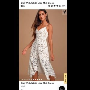 Lulu one wish white lace midi dress